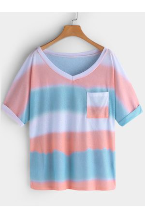 YOINS Printed Stripe V-neck Short Sleeves T-shirts