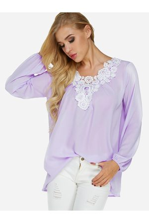 YOINS Light Lace Details V Neck Long Sleeves T-shirts