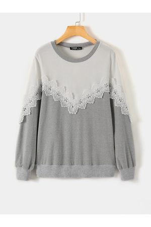 YOINS Grey Lace Details Patchwork Round Neck Long Sleeves Sweatshirt