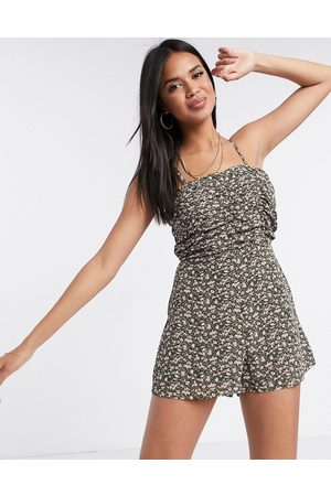 Missguided Women Vests - Ruched cami playsuit in floral print
