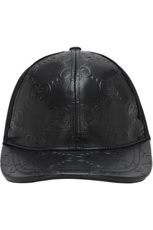 Gucci Gg Embossed Leather & Mesh Cap