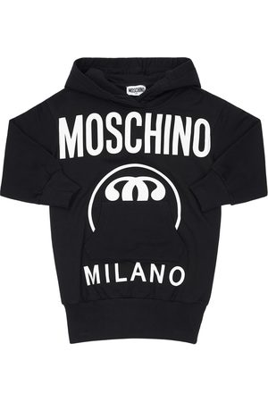 Moschino Logo Print Cotton Sweat Dress Hoodie