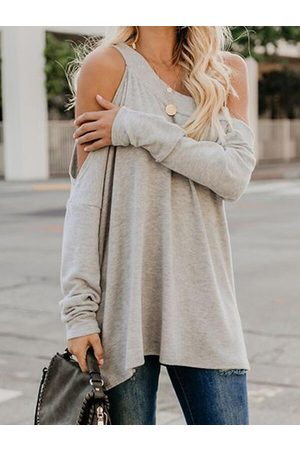 YOINS Casual Cut Out Design Cold Shoulder Long Sleeves Tee