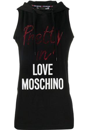 Love Moschino Hooded logo tank top