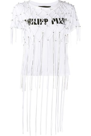 Philipp Plein Embellished net layer T-shirt