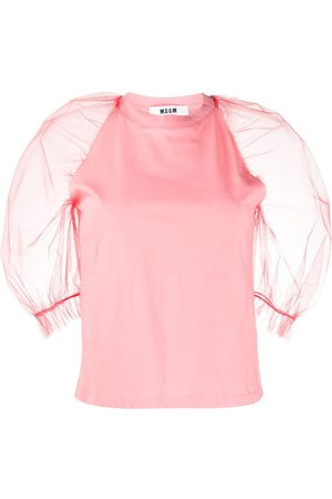 Msgm Sheer puff-sleeve top