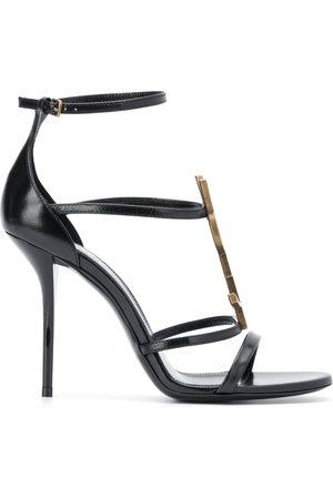 Saint Laurent Strappy logo stiletto sandals