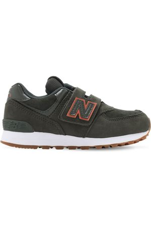 New Balance 574 Leather & Tech Strap Sneakers