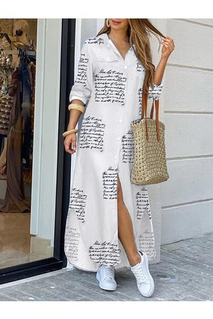 YOINS White Letter Front Button Long Sleeves Maxi Shirt Dress