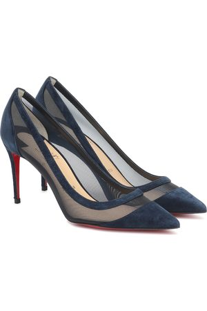 Christian Louboutin Galaviti 85 suede and mesh pumps