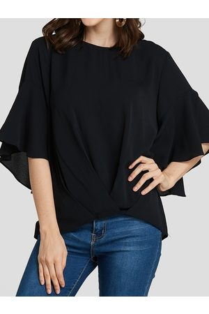 YOINS Round Neck Bell Sleeves Blouse