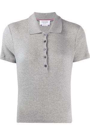 Thom Browne 4-Bar side insert ribbed polo shirt