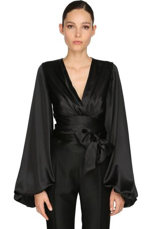 ALEXANDRE VAUTHIER Draped Stretch Satin Shirt
