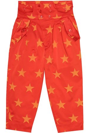The Animals Observatory Girls Stretch Trousers - Camel printed stretch-satin pants