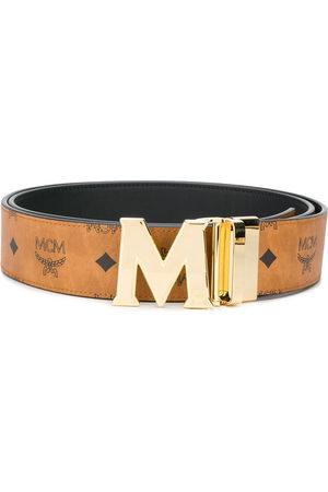 MCM Gold logo leather belt