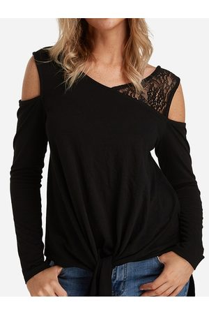 YOINS Lace Details Knotted Cold Shoulder Long Sleeves T-shirts