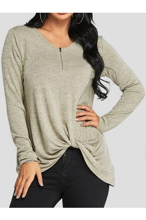 YOINS Apricot Knotted Design Plain V-neck Long Sleeves T-shirts