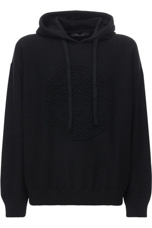 VERSACE Intarsia Wool & Cashmere Knit Hoodie