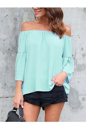 YOINS Off The Shoulder Flared Sleeves Blouse