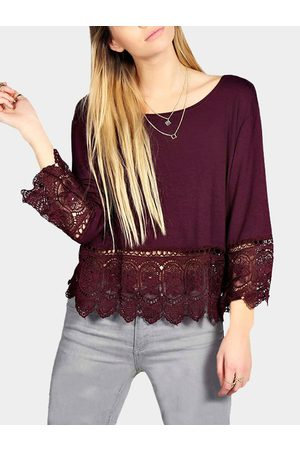 YOINS Crochet Lace Hem Swing Top