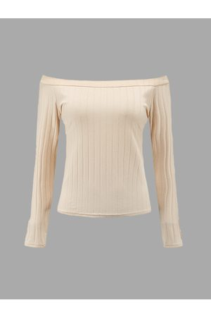 YOINS Apricot Sexy Off-shoulder Ribbed Body-con Top