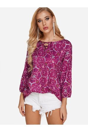 YOINS Lace-up Design Floral Print V-neck Lantern Sleeves Top