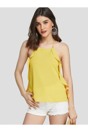 YOINS Backless Design Plain Halter Sleeveless Camis