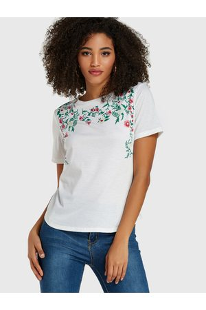 YOINS Leaf Floral Print Round Neck Short Sleeves Tee