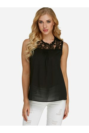YOINS Lace Trim Crew Neck Sleeveless Top