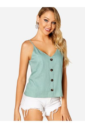 YOINS Backless Button Design Plain V-neck Sleeveless Camis