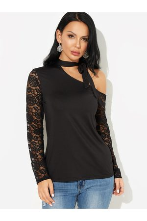 YOINS One Shoulder Tie up Design Lace Details Long Sleeves T-shirts