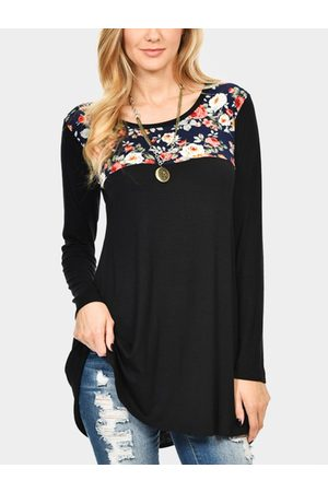 YOINS Floral Print Round Neck Long Sleeves Blouses