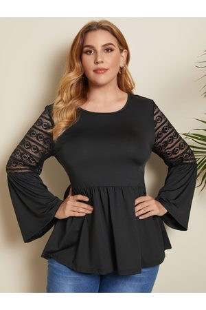 YOINS Plus Size Round Neck Lace Long Sleeves Blouse