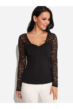 YOINS Lace Details V-neck Long Sleeves T-shirt in