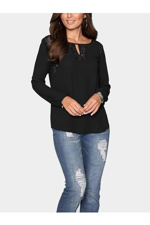 YOINS Lace Insert Round Neck Cutout Front Top