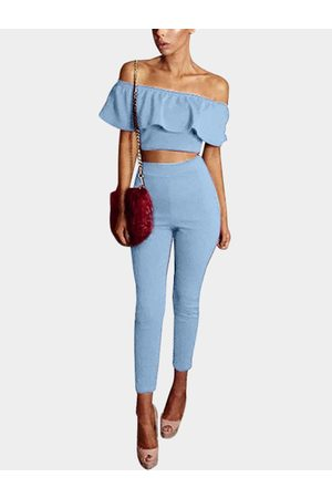 YOINS Light Sexy Off Shoulder Two Piece Outfi