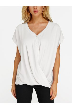 YOINS Crossed Front Design V-neck Short Sleeves Blouse