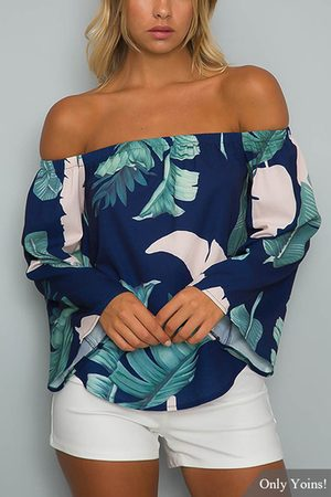 YOINS Navy Off-The-Shoulder Floral Print Flared Sleeves Top with Tie