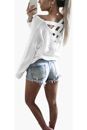 YOINS Cutout Round Neck Backless Hollow Details T-shirts in