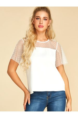 YOINS Fishnet Polka Dot Round Neck Short Sleeves Tee