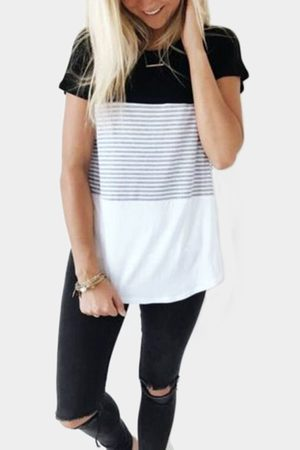YOINS Black Stitching Stripe Pattern T-shirt with Contrast Color