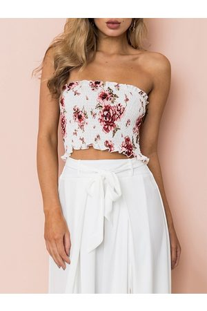 YOINS Random Floral Print Strapless Bodice Tube Top