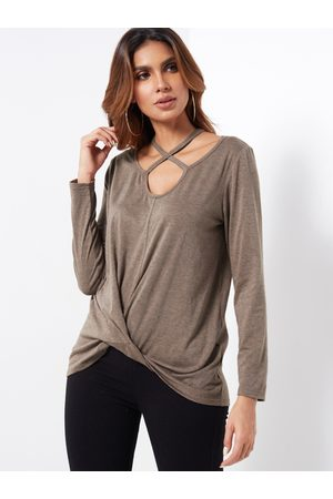 YOINS Coffee Chocker Neck Knotted Long Sleeves T-shirt