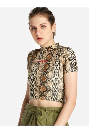 YOINS Snake Printed Crew Neck Short Sleeves T-shirts