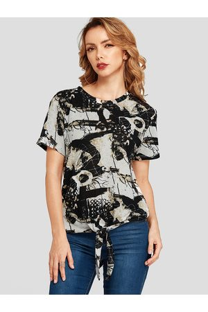 YOINS Women Short Sleeve - Knotted Abstract Print Round Neck Tee