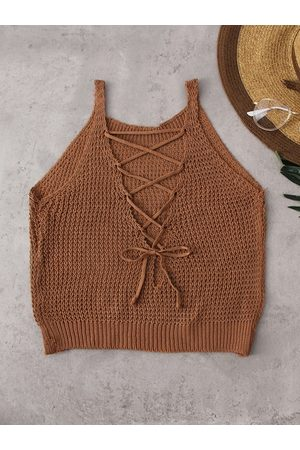 YOINS Lace-up Design Sleeveless Knitted Basic Cami Top