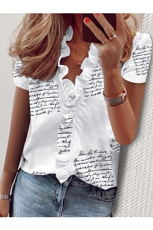 YOINS Letter & Calico Print V-neck Short Sleeves Blouses