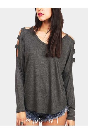 YOINS V-neck Long Sleeves Shirt with Cut Out Details