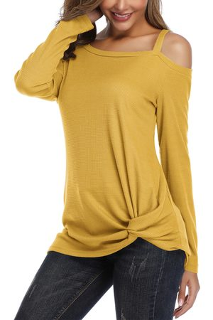 YOINS Twisted Cold Shoulder Long Sleeves Knit Top