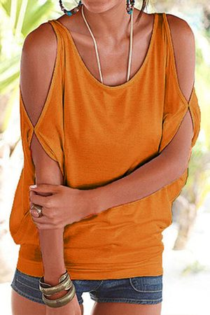 YOINS Scoop Neck Cold Shoulder Tie-up at Back Tee
